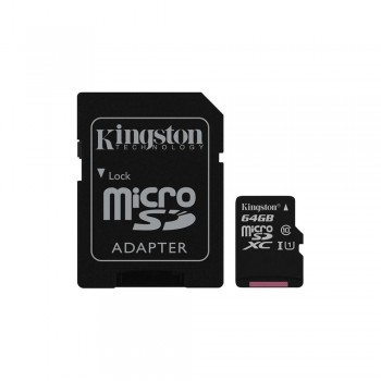 Карта памяти Kingston 64GB microSDXC C10 UHS-I + SD адаптер (SDC10G2/64GB)
